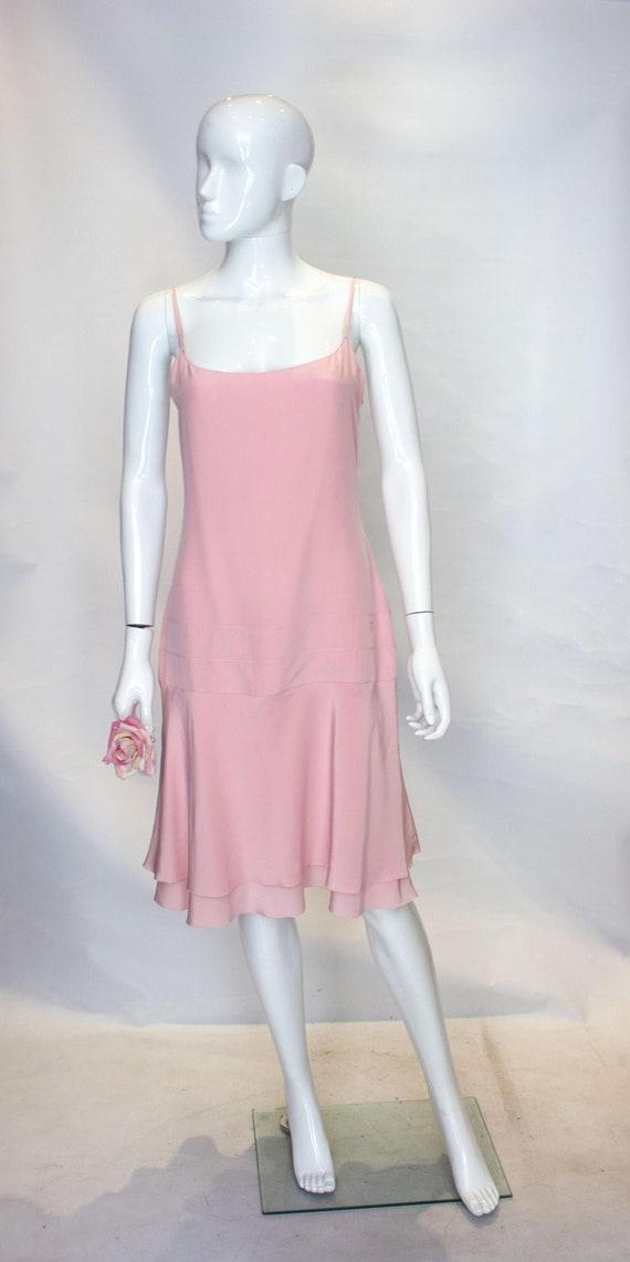 A Vintage 1990s Chanel Pink Silk Slip Dress - image 3