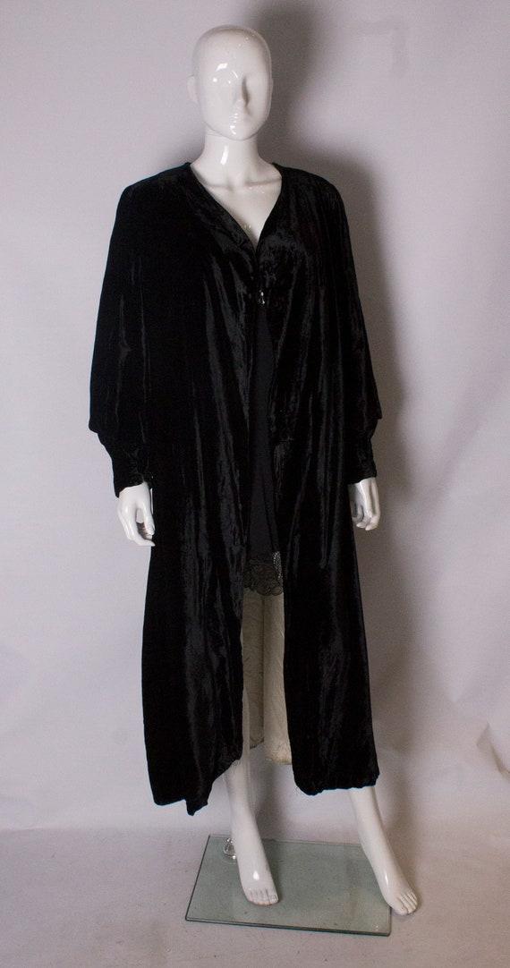 A vintage 1930s black Silk Velvet Evening Coat