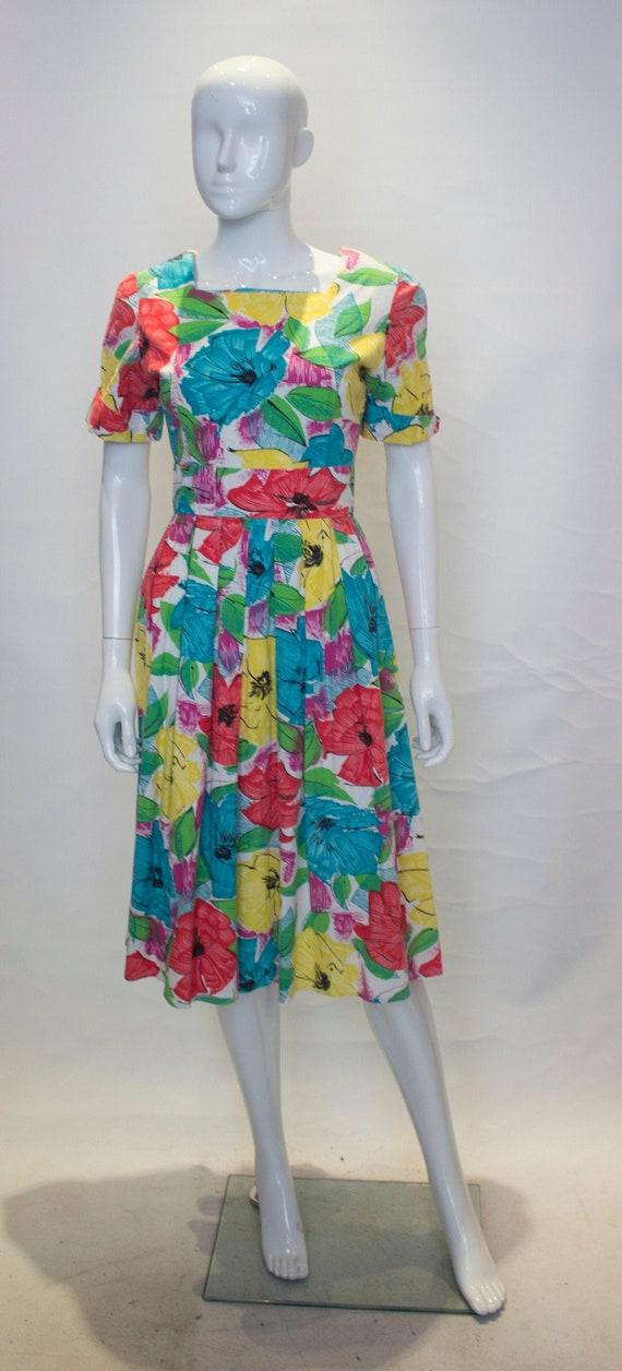 A Vintage 1950s Floral Cotton Summer Dress