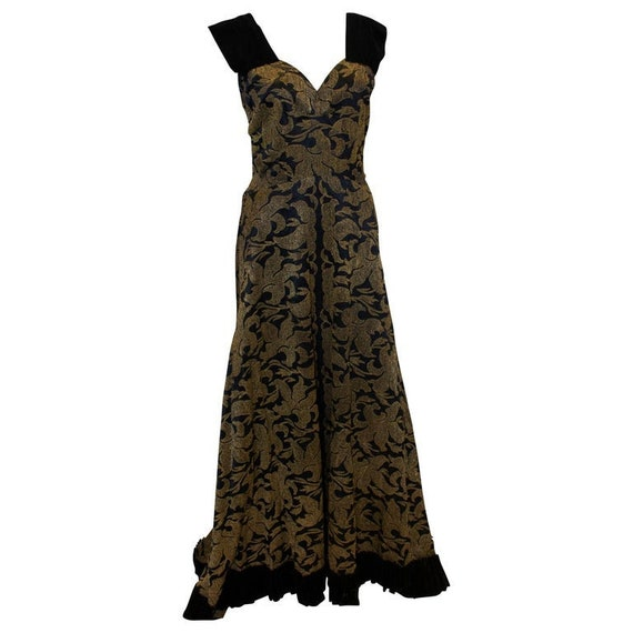 A Vintage 1950s Gold and Black lame Evening Gown