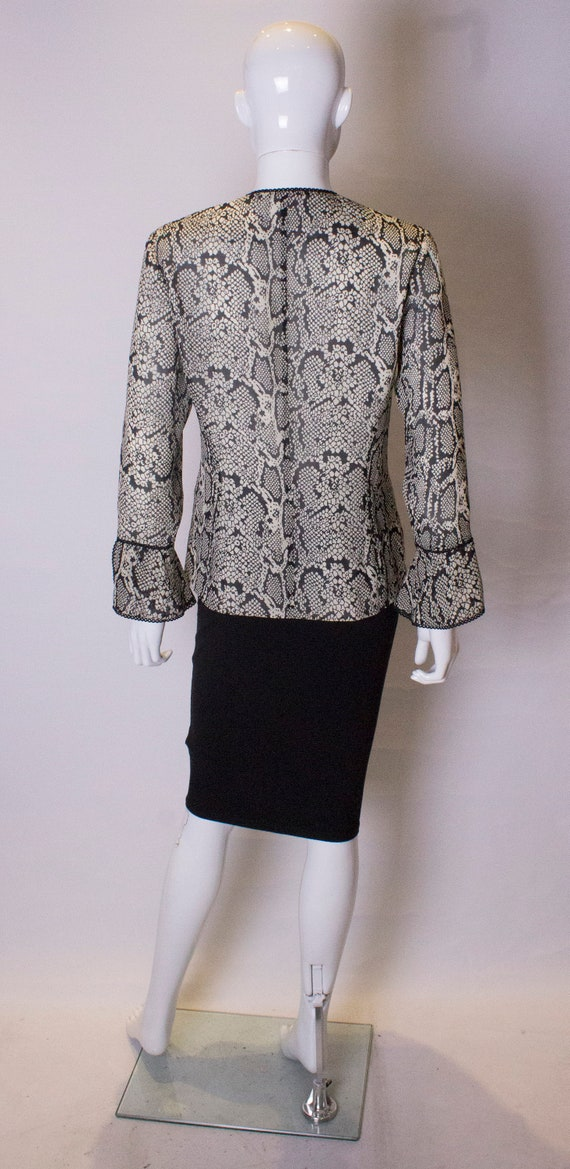 Vintage Silk Snakeskin print Jacket /top - image 7