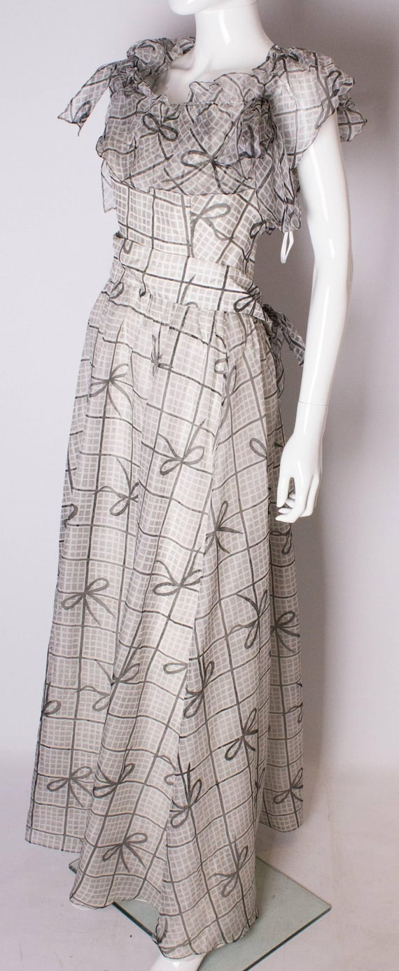 A Vintage 1970s grey printed silk evening gown by… - image 4