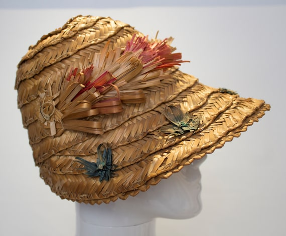 A Vintage 1930s Summer Straw day Hat - image 2
