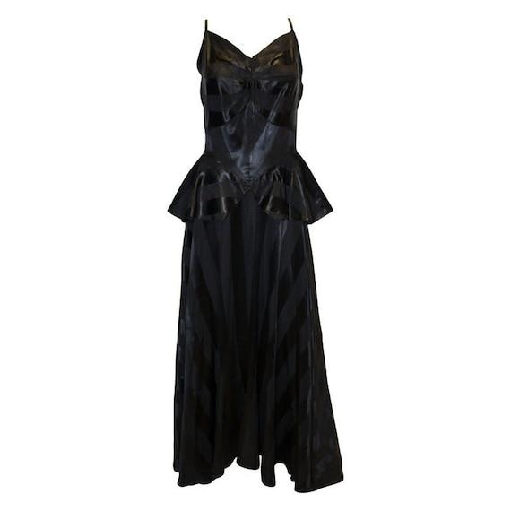 A Vintage 1940s Black Evening Gown