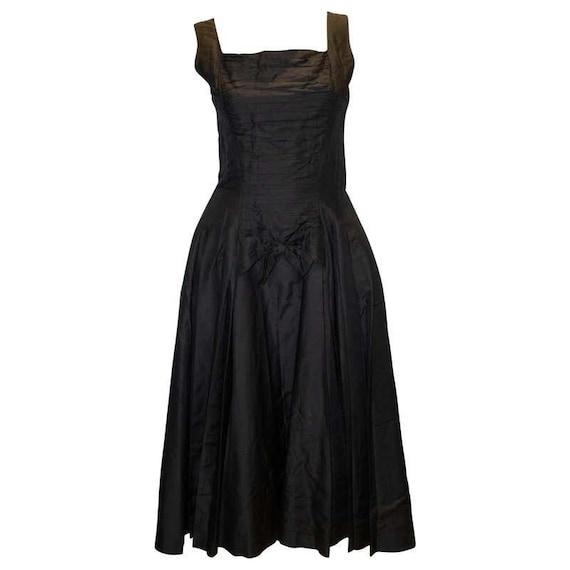 A Vintage 1950s Suzy Perette silk Black Cocktail D