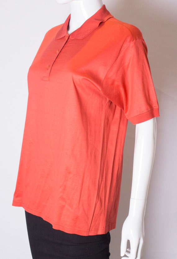 A Vintage 1990s orange Celine Polo Shirt - image 4