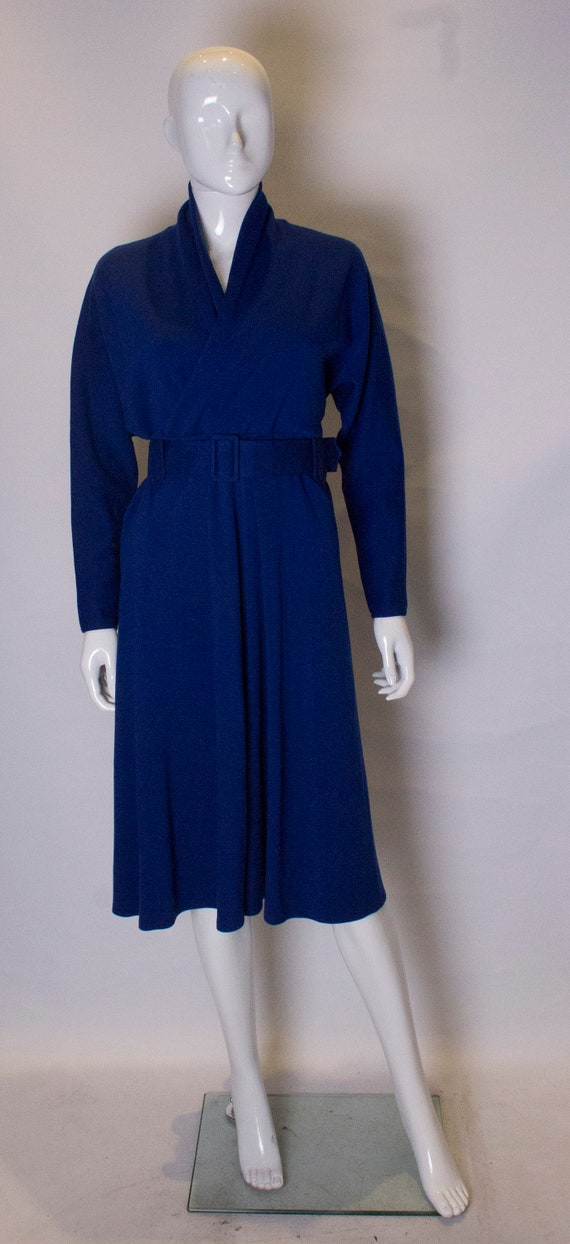 A Vintage 1970s Janice Wainwright Blue Jersey Dres