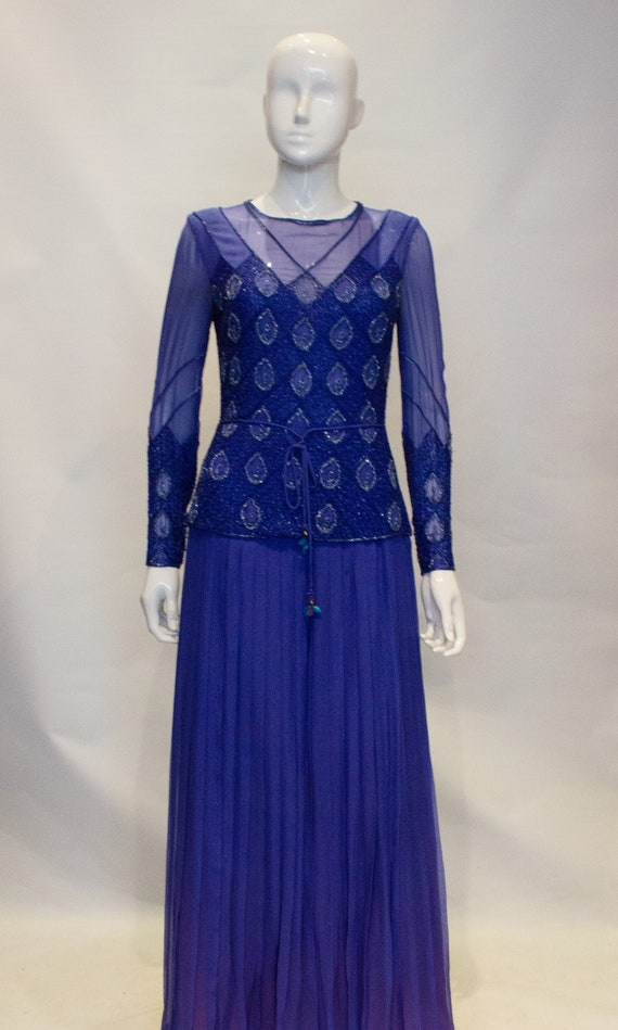 Vintage Norman Hartnell Evening Gown with Beading. - image 3