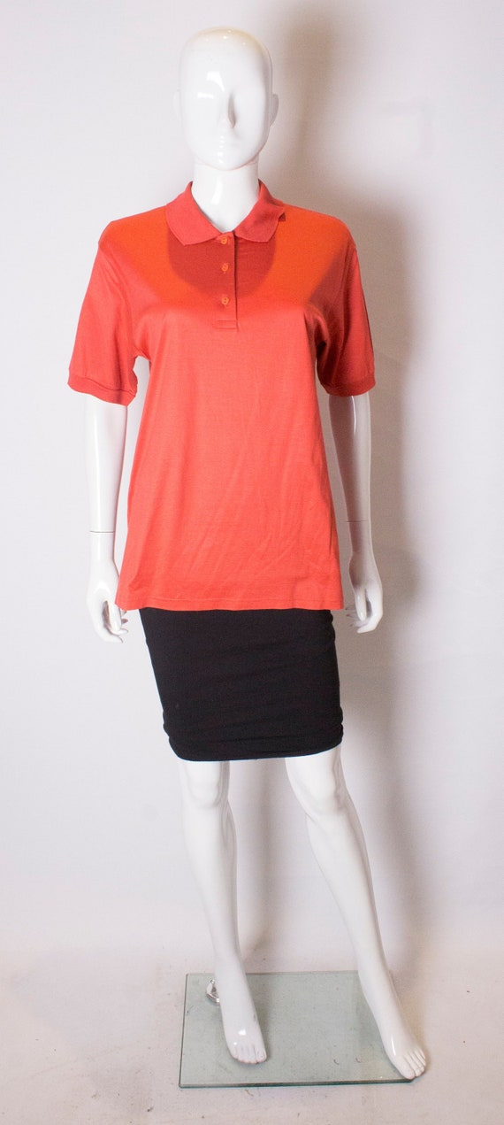 A Vintage 1990s orange Celine Polo Shirt - image 1