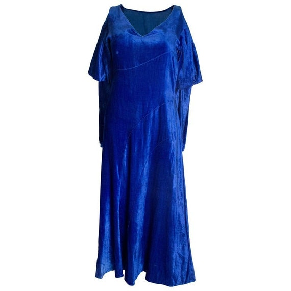 A Vintage 1930s Blue Silk Velvet Dress
