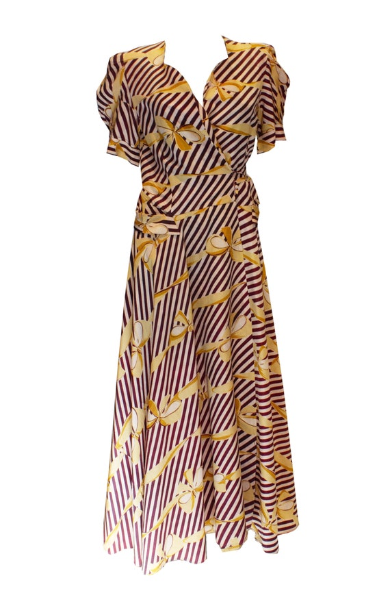 Vintage 1940s Print Wrap Over Dress