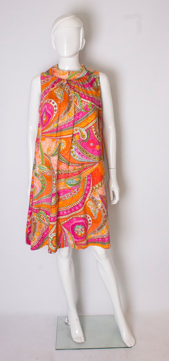 A vintage 1960s colourful abstract printed cotton