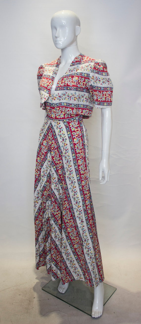 A Vintage 1940s printed Cotton Dress and Bolero J… - image 4