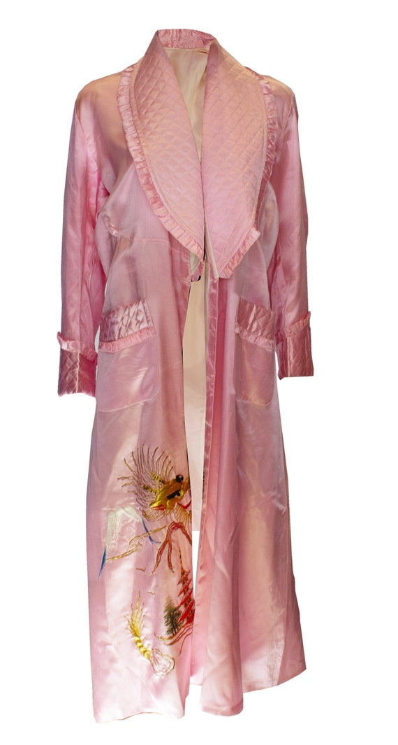Vintage Pink Dressing Gown with Quilted Detail and