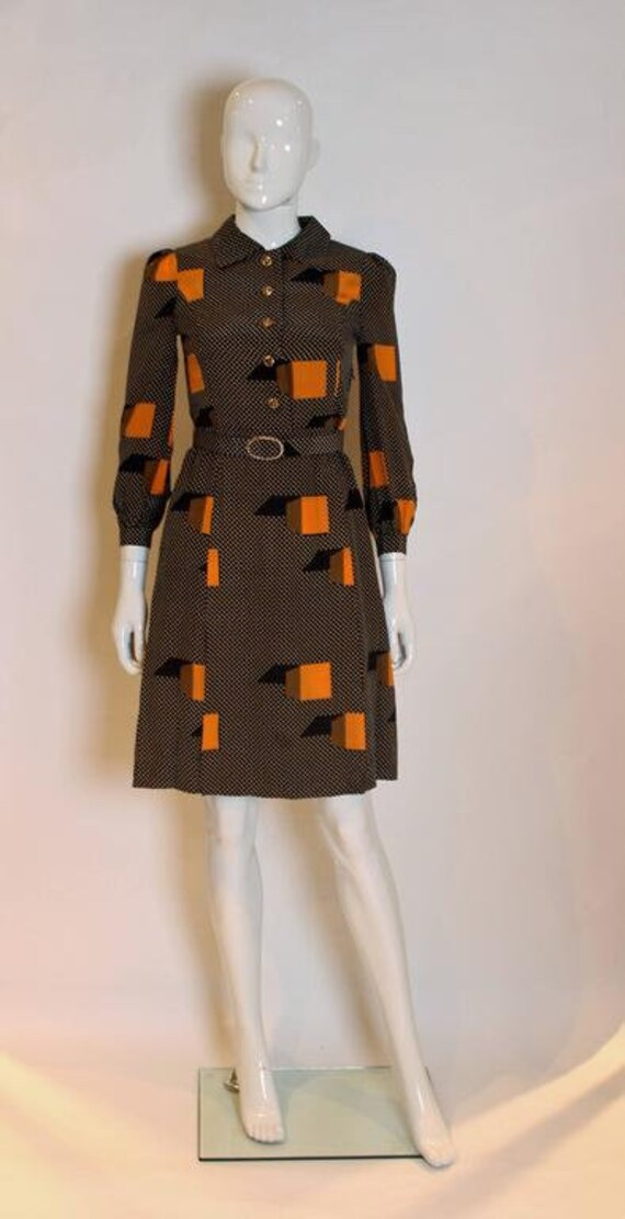 A Vintage 1970s polka dot spot Silk Shirt Dress - image 2