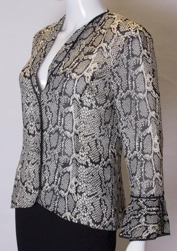 Vintage Silk Snakeskin print Jacket /top - image 4