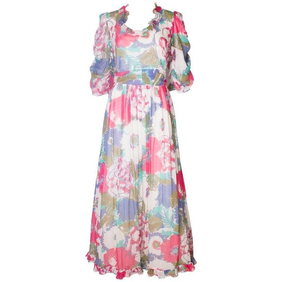 A Vintage 1980s floral print Summer Gown by Donald