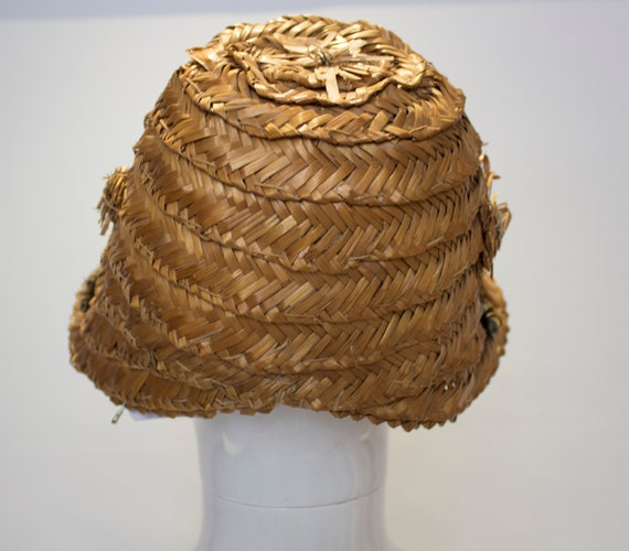 A Vintage 1930s Summer Straw day Hat - image 3
