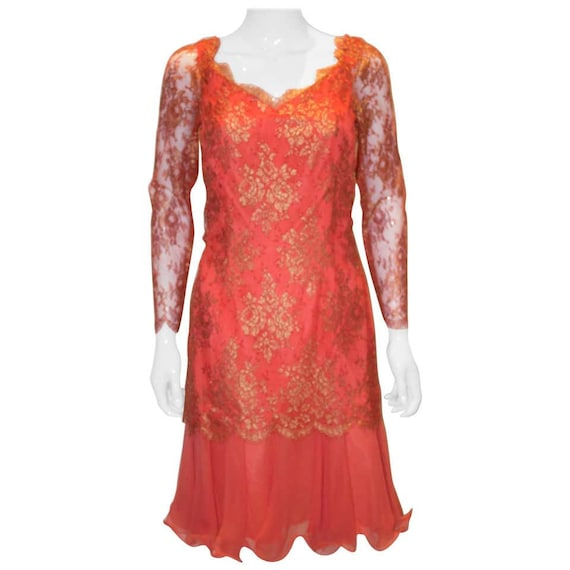 A Vintage 1980s Frank Usher Orange Cocktail Dress