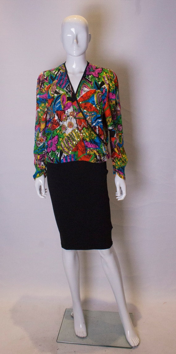 A 1980s Vintage Diane Fres Top with Bead and Sequi