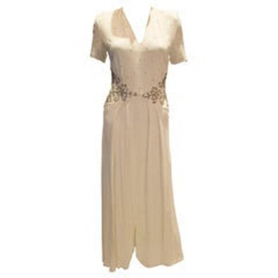 Vintage 1940s Ivory Crepe Dress
