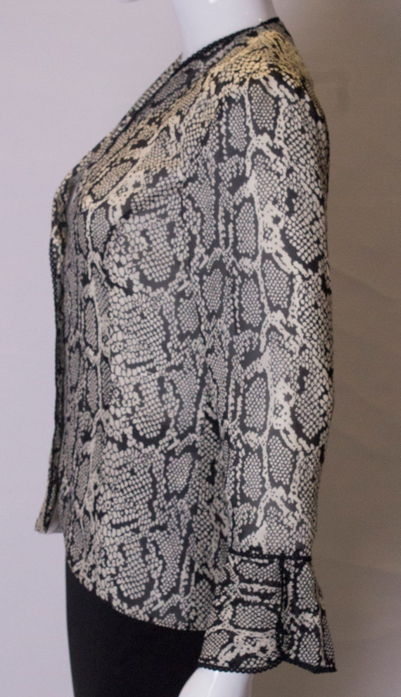 Vintage Silk Snakeskin print Jacket /top - image 6