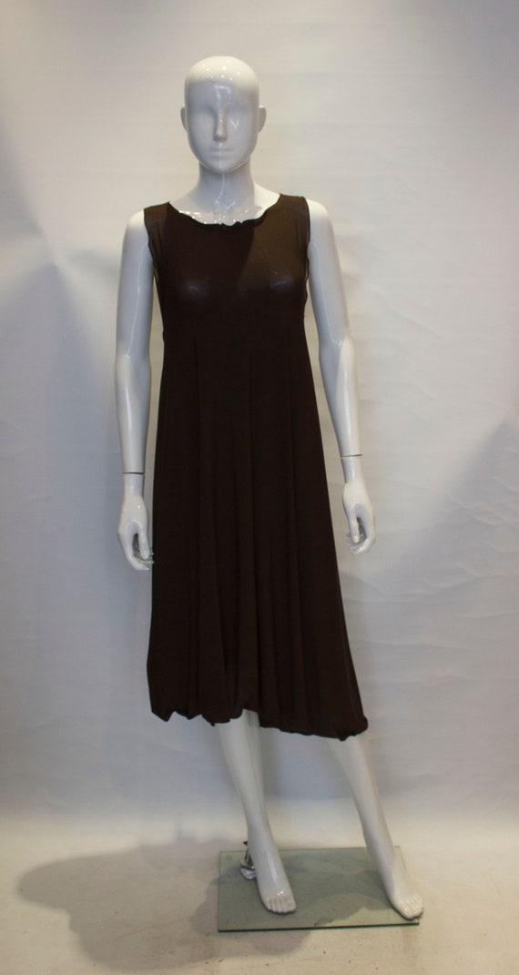 a vintage 1980s brown silk jersey kenzo dress