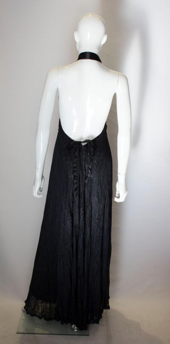A Vintage 1970s Quorum Black Lace Halter Neck Dre… - image 5