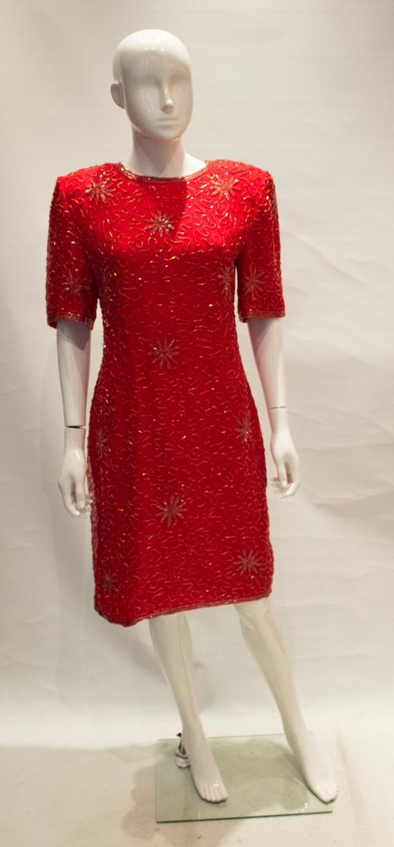 Vintage 1980s Silk Beaded Dress