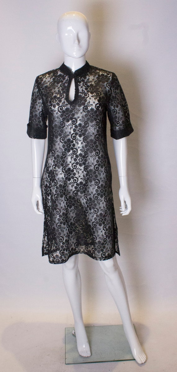 A Vintage 1960s Black shear Lace Tunic