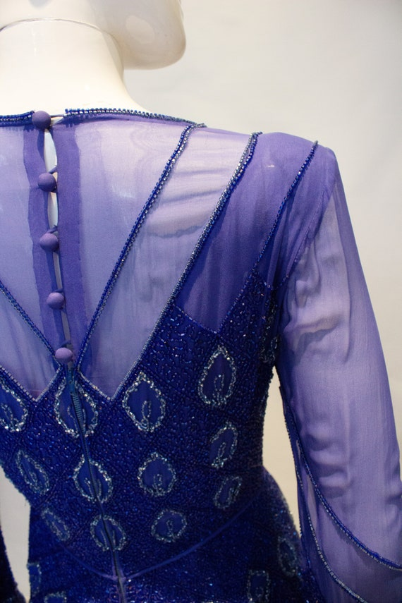 Vintage Norman Hartnell Evening Gown with Beading. - image 5