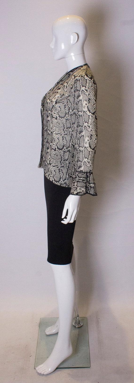 Vintage Silk Snakeskin print Jacket /top - image 5