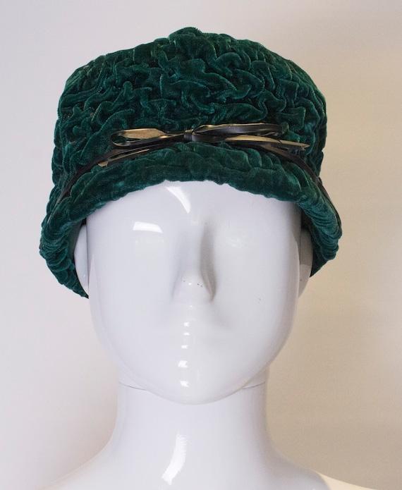 A Vintage 1960s green Jaccol Velvet Hat