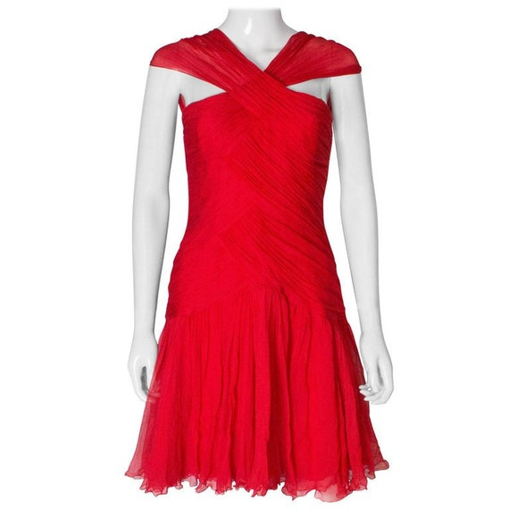 A 1990s Vintage scarlet red Silk Dress by Bellvill