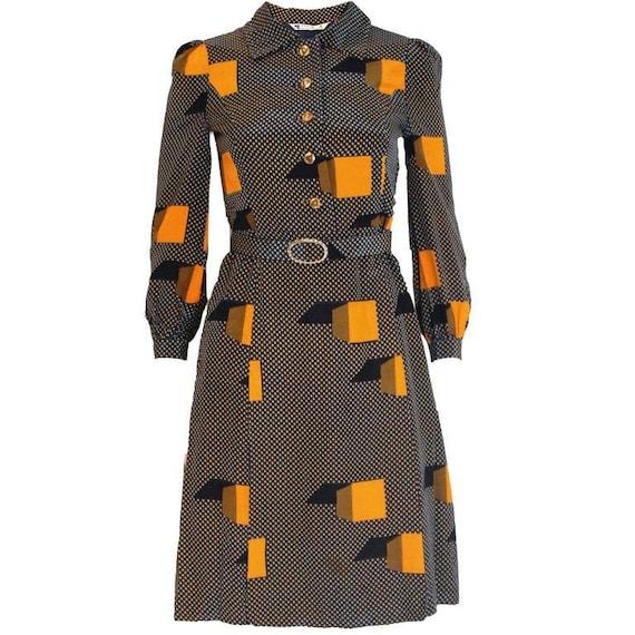 A Vintage 1970s polka dot spot Silk Shirt Dress - image 1