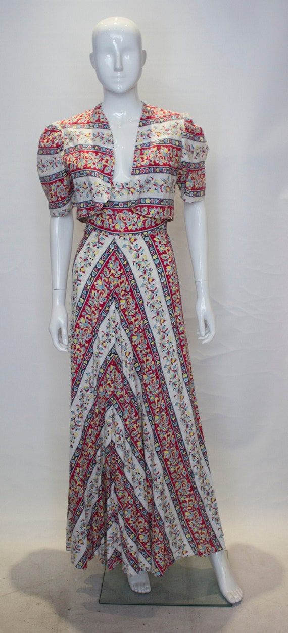 A Vintage 1940s printed Cotton Dress and Bolero Ja