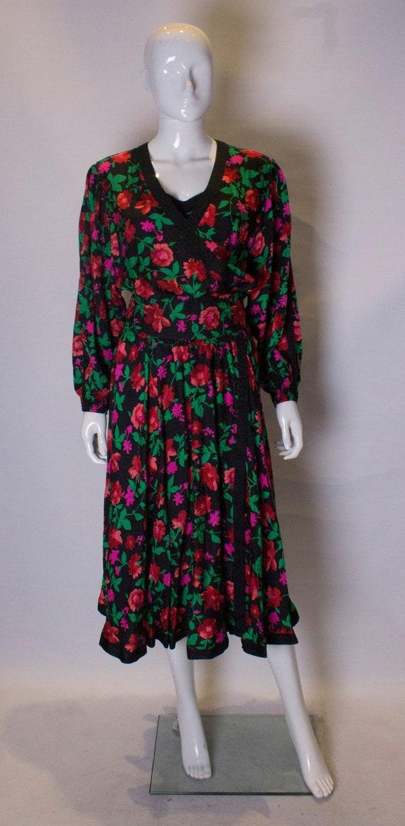 A Vintage 1980s floral Kanga Silk Dress