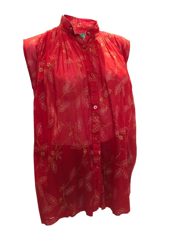 A Vintage 1970s Kenzo Paris Red and Gold Top