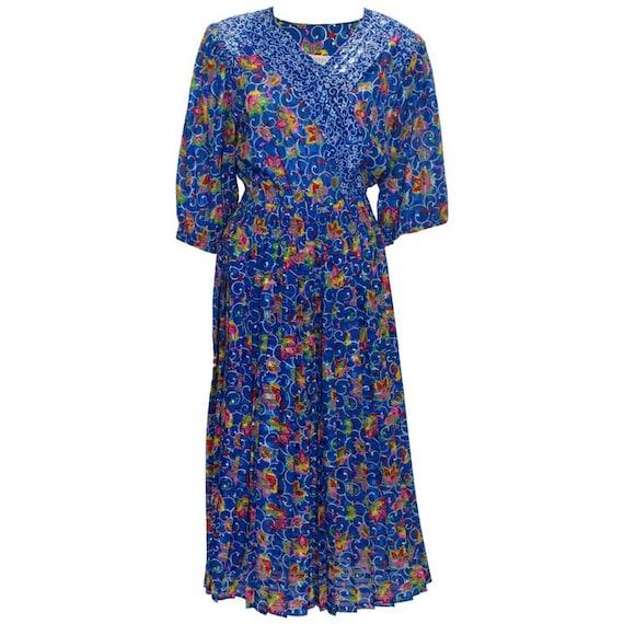 A Vintage 1980s Kanga Collection Blue Floral Dress