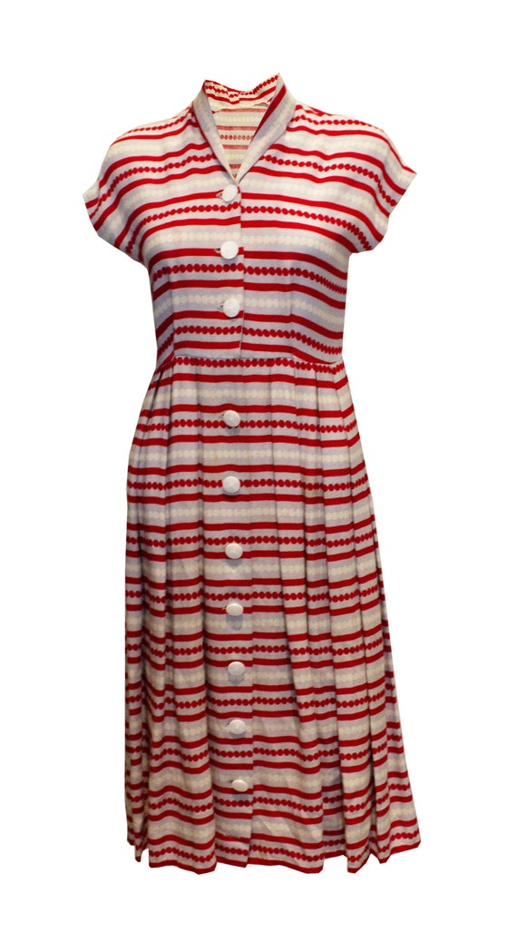 Vintage 1940s Stripe Day Dress