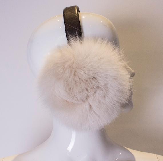A Vintage 1990s white Fox Fur Ear Muffs - image 2