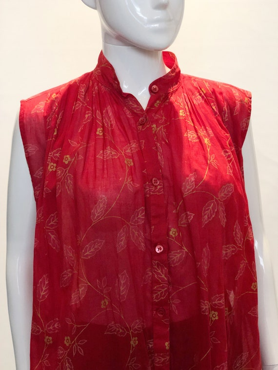 A Vintage 1970s Kenzo Paris Red and Gold Top - image 2