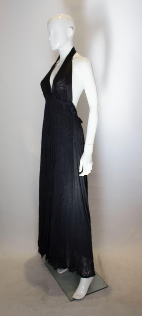A Vintage 1970s Quorum Black Lace Halter Neck Dre… - image 3