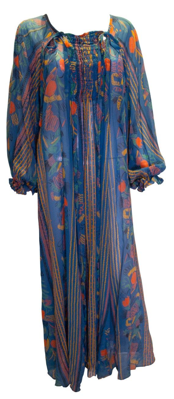 A Rare Vintage 1970s Print Ossie Clark summer Gown