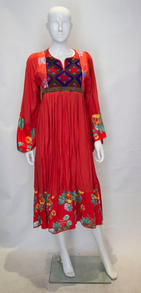A Vintage 1970s Red Cotton floral Boho Dress