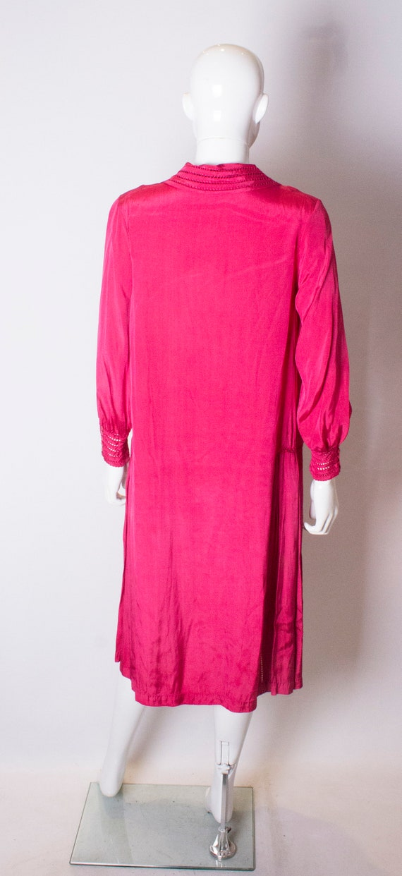 A Vintage 1920s silk Pink day Dress - image 5
