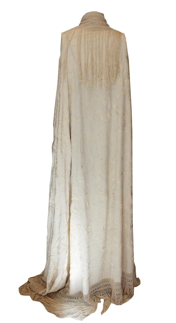 Vintage Ivory Silk Piano Shawl