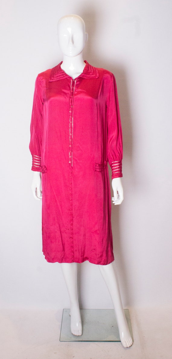 A Vintage 1920s silk Pink day Dress - image 1