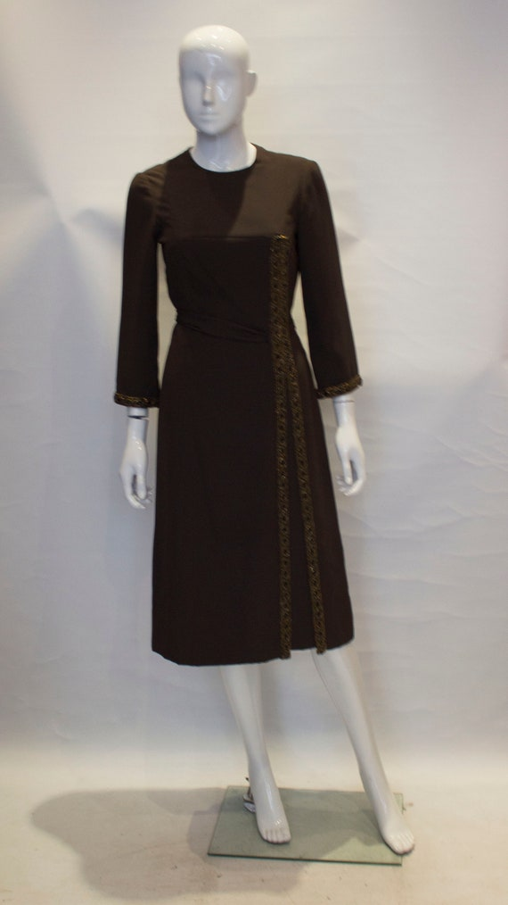 A 1950s Vintage brown silk Hartnell cocktail Dress