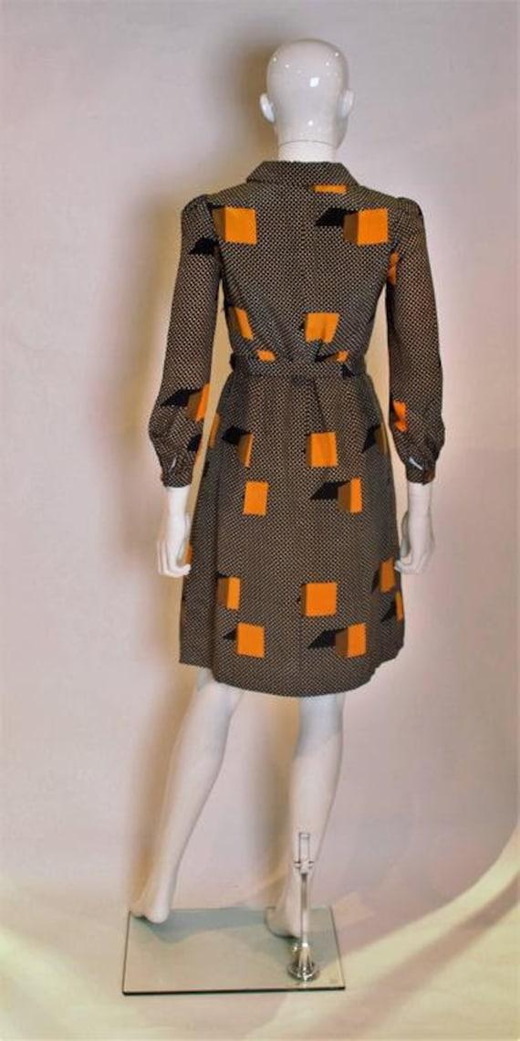 A Vintage 1970s polka dot spot Silk Shirt Dress - image 5